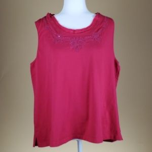 Coldwater Creek Red Sleeveless Embroidered Top